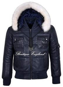 Men-039-s-Puffers-Hooded-Bomber-Jacket-Navy-Real-Lambskin-Leather-Pilot-6-Puffer