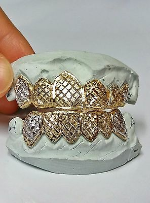 S Silver 10K or 14K Solid Gold Custom Made 2 Tone Diamond Cut Grill Grillz