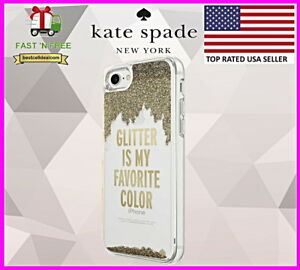 super popular 2a2ff 9e70b Details about Kate Spade New York GLITTER IS MY FAVORITE COLOR Case Gold  Apple iPhone 8 & 7
