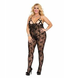 40c16a90232 Details about Plus Size Strappy Cup Bodystocking With Lace Up Front - Music  Legs 1149Q