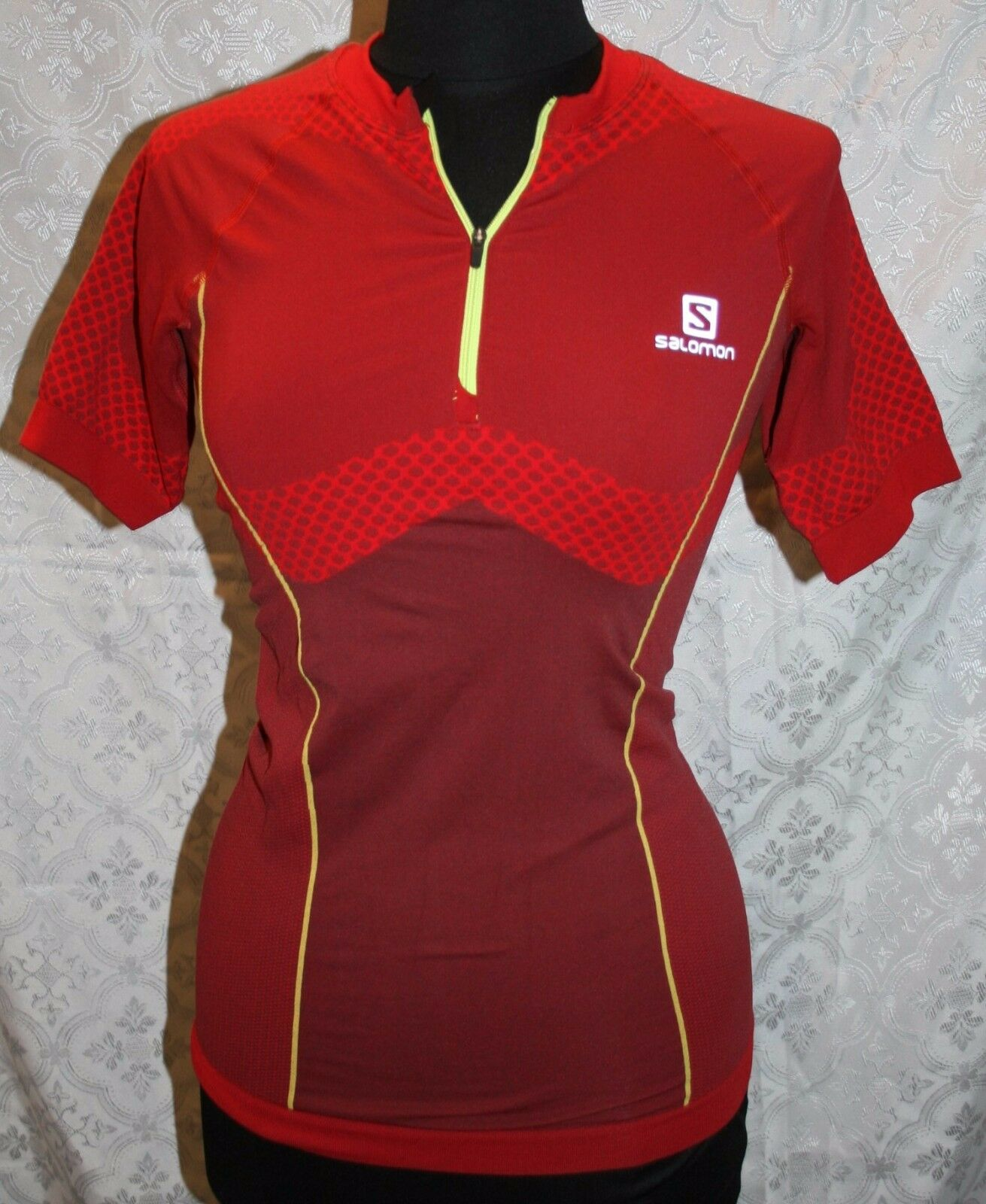 Salomon Cycling Jersey  L NWT Shirt Sample New Red Exo Motion Zip Tee Womens Top  discount promotions