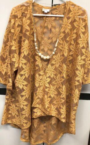 medio dorato per Kimono Lindsay Lw pizzo Copricostume con senape floreale x8qwZFFf