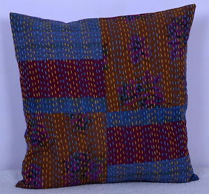 "24/"" Indigo Blue Patchwork Throw Kantha Quilted Indian Pillow Cushion Cover Decor"