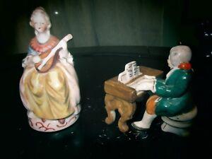 Occupied Japan Porcelain Victorian Woman Man Musician Figurines Piano Ebay