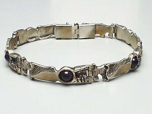 Design-Armband-mit-5-Amethyst-Cabochons-835-Silber-Meisterpunze-A857