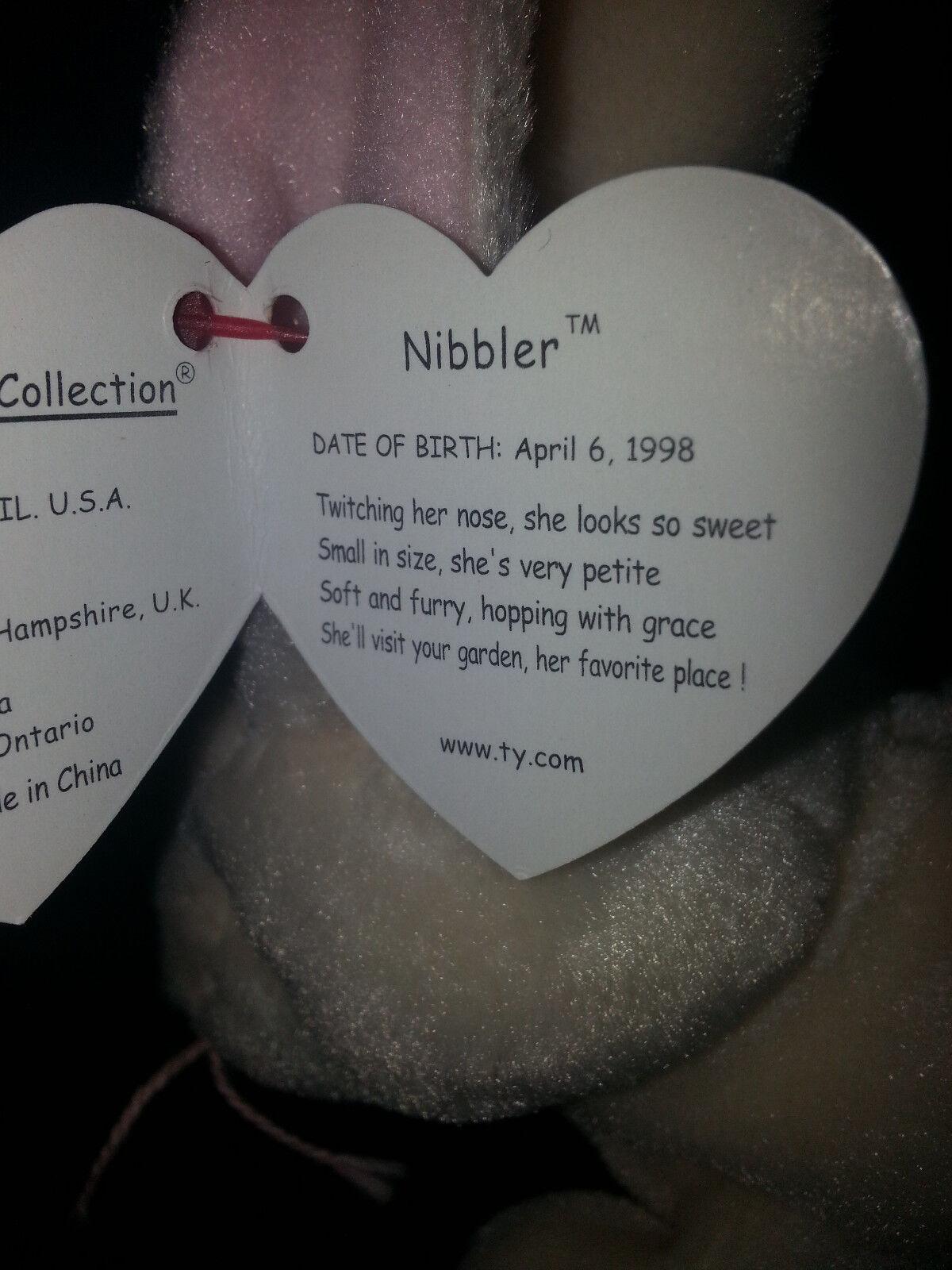 Rare Rare Rare    NIBBLER The Rabbit TY Beanie Baby Plush Multiple Tag Errors Misspellings ea2b2c