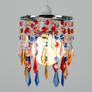 Modern chrome multi coloured ceiling pendant light lamp shade jewel image is loading modern chrome multi coloured ceiling pendant light lamp aloadofball Image collections