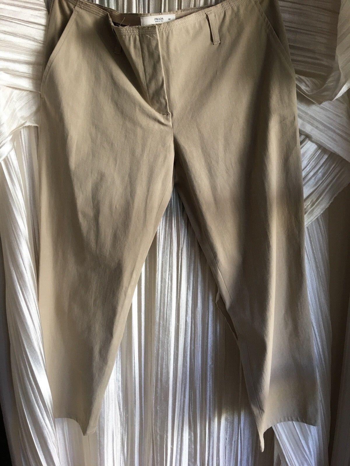 Prada size 42 khaki tan front zip cotton & elastane deconstructed waist