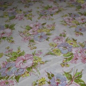 Vintage-Pequot-Full-Flat-Sheet-Flowers-Floral-Bouquet-Percale-Pink-Blue-Yellow