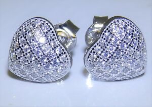Sterling Silver (925) Heart Simulated Diamond Cluster Stud Earrings (g51093) Erfrischung