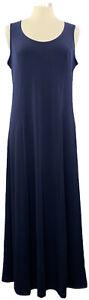 Susan-Graver-Medium-Navy-Blue-Liquid-Knit-Sleeveless-Maxi-Dress