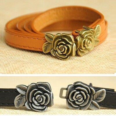 Fashion Chic Women Lady Waistband Faux Leather Waist Belt Rose Metal Buckle Hot
