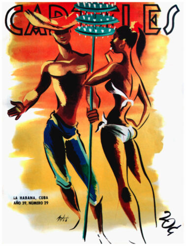 7773.Carteles.man in hat talking to girl in bathing suit.POSTER.art wall decor