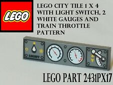 Lego 1x4 Dark Bluish Gray Tile with Knob Dials and Train Throttle Patterns Lot