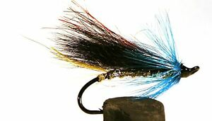 Salmon-Fly-Black-and-Blue-Single-Hook-3-pack-Pick-a-size-Fly-Fishing-Fly
