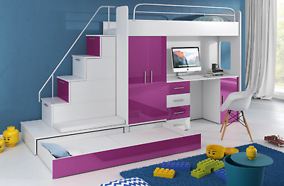 CABIN BUNK BED SPACE SAVER CHILDREN KIDS BED STAIRS ...