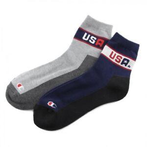 CHAMPION 2 Pair Set Socks Low Crew Half Pile Unisex Mens Womens CMSBG101 Casual