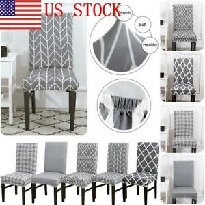 Miraculous Details About 23 Us Gray Printing Pattern Dining Room Chair Cover Removable Stretch Seat Cover Short Links Chair Design For Home Short Linksinfo