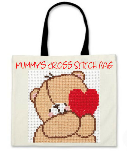 Personalised Cross Stitch Bag with Black Handles Lovely Gift for HER