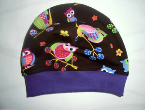 Beanie Jerseymütze   Eulenliebe Braun Lila  Handmade