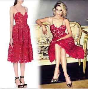 6ccf94baa96 NWOT maxi red Azalea lace midi dress US size M Self-Portrait SEE ...