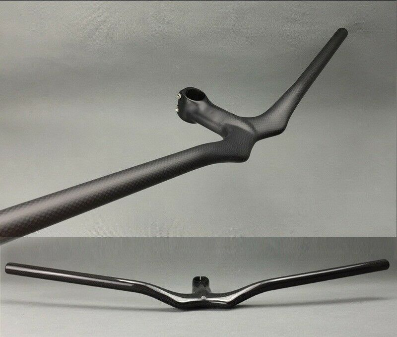 Full Carbon 3K MTB Road Bike Riser Handlebar 580-720 Integrated Bar Stem 90-120
