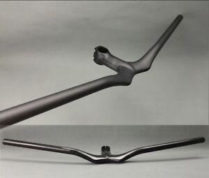 Carbon MTB Road Bike Bicycle flat Handlebar 580-720 Integrated Bar Stem 90-120mm