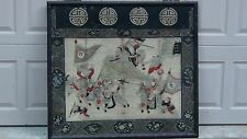 ANTIQUE 19c CHINESE RARE GOLD THREAD EMBROIDERY PANEL OF BATTLE SCENE ,WARRIORS