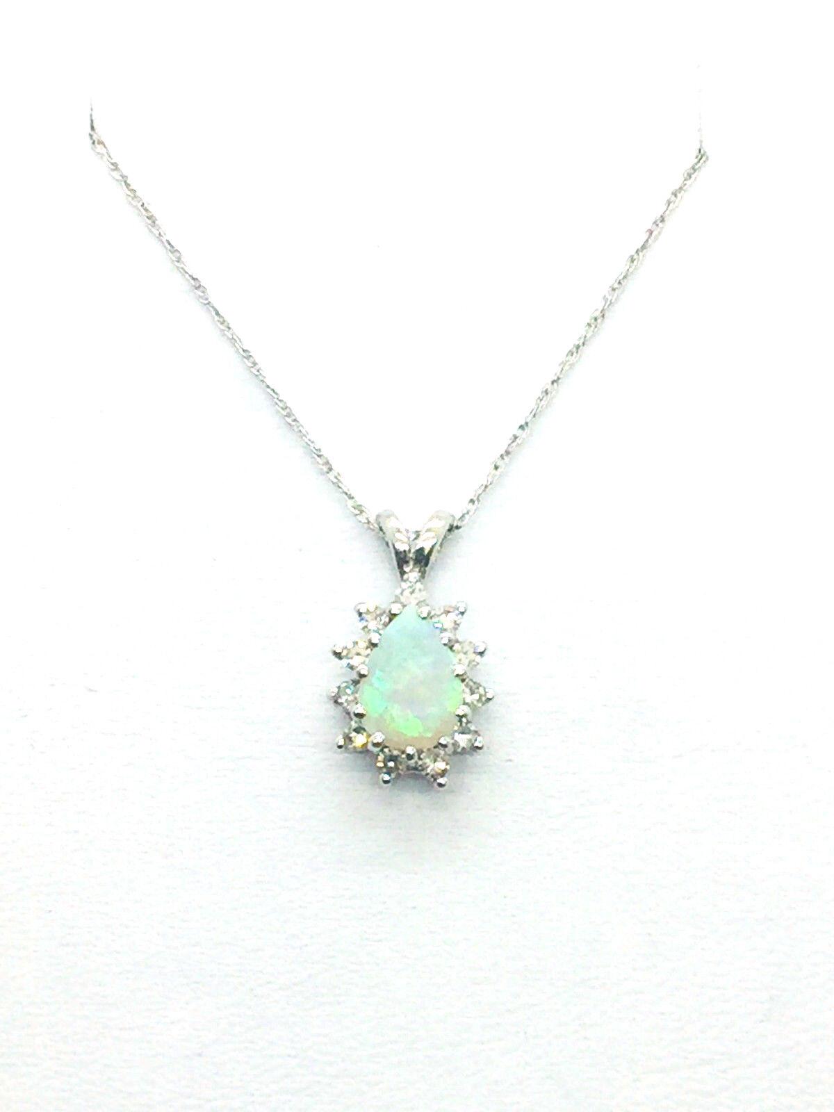 14k Solid White gold Opal & Diamond Pendant & Chain