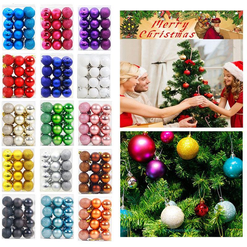 24Pcs 30mm Christmas Xmas Tree Ball Bauble Plain Glitter Hanging Ornaments Ball
