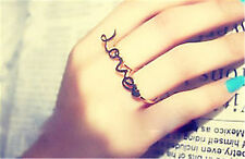 Gold tone love and heart double finger ring UK Size M O