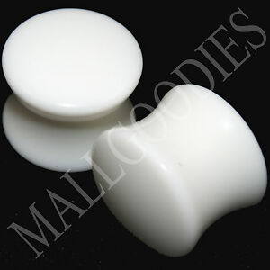 """0441 Double Flare Saddle Solid White Acrylic Ear Plugs Earlets 1/2"""" Inch 12.7mm"""