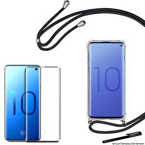 Coque rigide avec collier cordon noir + Verre trempé 3D pour Samsung Galaxy S10