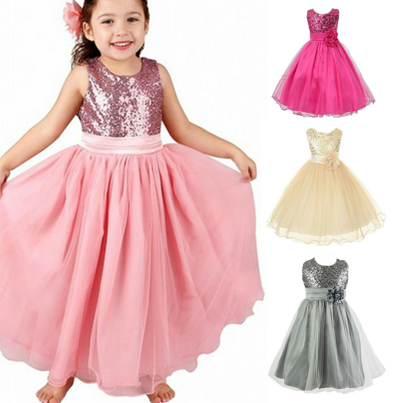 Girls Kids Flower Glitter Princess Dress Prom Pageant Birthday Party Ball Gown