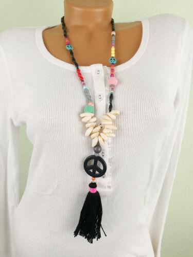 ♥ IBIZA Indianer Hippie Kette Halskette lang Quaste Muscheln schwarz bunt PEACE