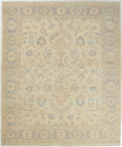 8X10 Hand-Knotted Oushak Carpet Traditional Ivory Fine Wool Area Rug D53677