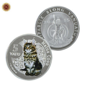 WR-Vanuatu-5-Vatu-Maine-Coon-Cat-SILVER-Coin-Mint-Novelty-Gift-For-Her-Lovers