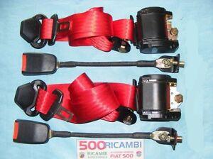 FIAT-500-F-L-R-126-CINTURE-DI-SICUREZZA-ANTERIORI-ROSSE-CON-ARROTOLATORE-3-PUNTI