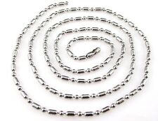 """TEN    2 mm Stainless Steel Long and Short Ball Beads 24"""" Necklace Chain 7267K"""