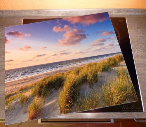 Abendspaziergang Strand 60x52cm Wallario Herdabdeckplatte 1-teilig aus Glas