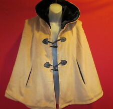 ~~JINFENI Soft Tan Wool Hooded Poncho Cape sz M NWT jacket coat~~toggle buttons