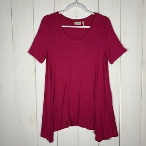 LOGO-By-Lori-Goldstein-Womens-Pink-Size-Small-Short-Sleeve-Scoop-Neck-Tunic-Top