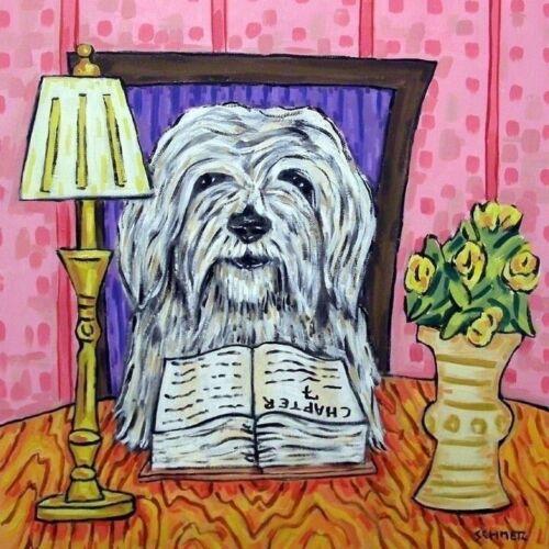havanese reading dog art tile coaster gift impressionism artist modern new