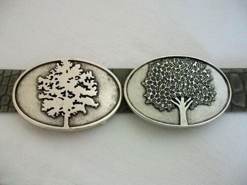 Umjubelt Gürtelschließe Gürtelschnalle Eiche oder Ahorn Baum silber groß