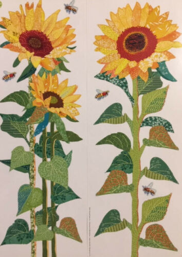 SUNFLOWERS leaves stalk wall stickers 6 decals kitchen decor flowers yellow bees