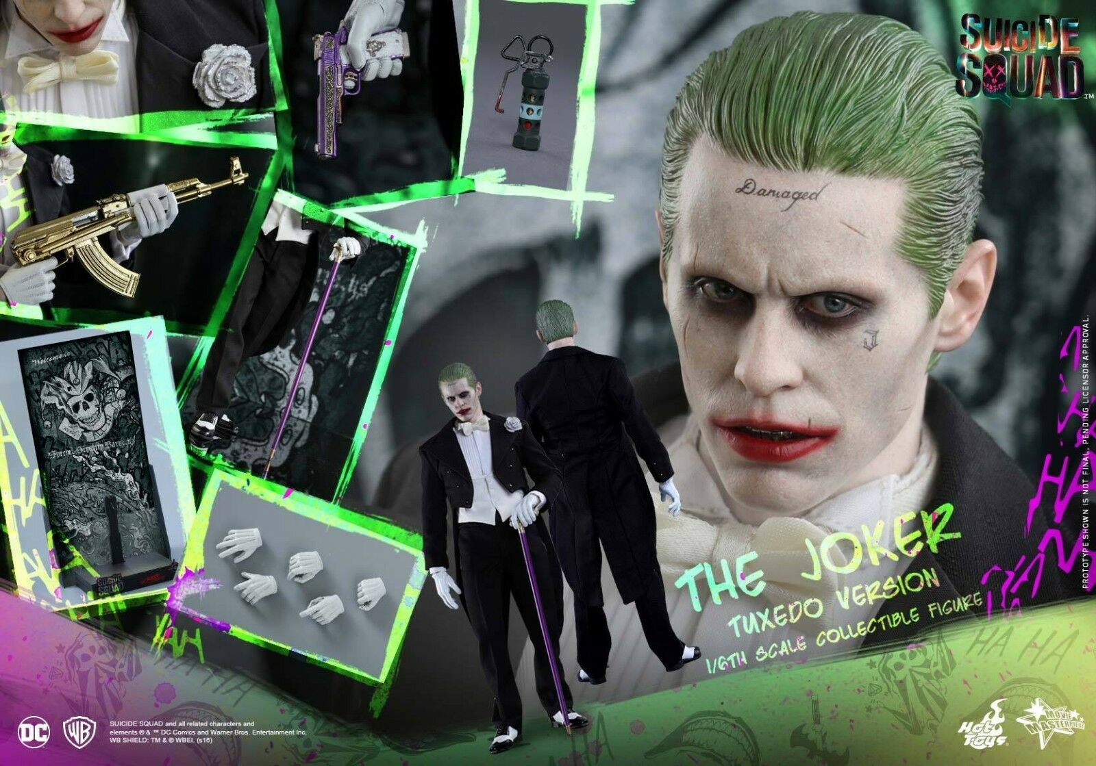 Hot Toys MMS395 Suicide Squad 1 6th Scale The Joker Figure Tuxedo Version
