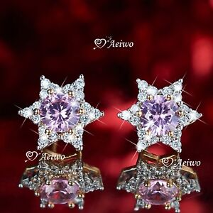 18K-YELLOW-GOLD-GF-STAR-OF-DAVID-STUD-MADE-WITH-SWAROVSKI-CRYSTAL-EARRINGS-PINK