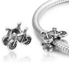 Antique Silver Bike Charm, Bicycle Charm Bead, Large Hole Bead, Cycle Charms