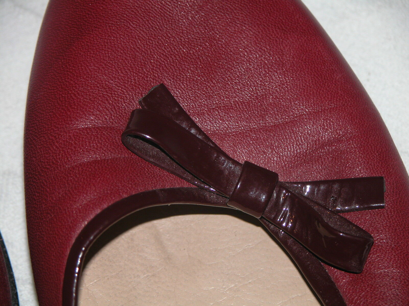 ITALIAN DESIGNER 9AA BURGUNDY LEATHER & PATENT BALLET PUMP 9AA DESIGNER - LEATHER LINED 4a9e34