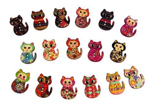 50 X en bois à motifs chat Boutons-Artisanat embellissements Carte Toppers